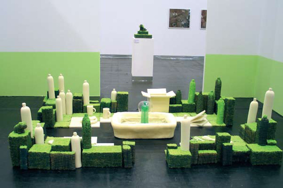 'Formal Garden', 2007, foam, thread, water fountain, installation
