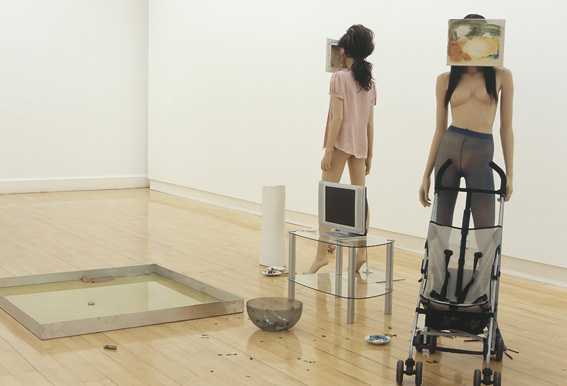 Cathy Wilkes, 'Non Verbal', 2005, includes two paintings, mannequins, corn oil