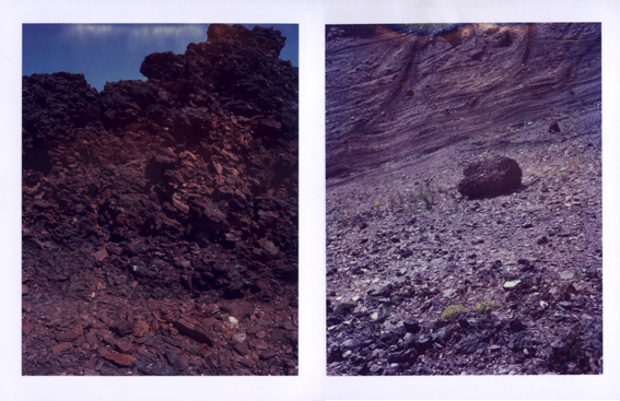 Polaroid images pf the bings taken in July this year by Edinburgh artist John Paul Tierney