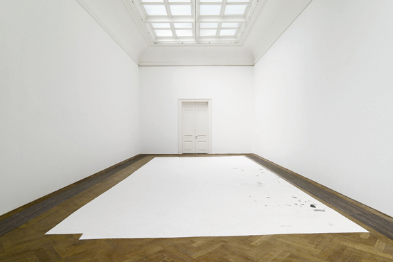 Karla Black, 'Once Cut', installation view, Poor Thing, Kunsthalle Basel, 2007, plaster powder, cardboard paint, fabric dye, cement, petroleum jelly, eyeshadow, nail varnish, toothpaste, Vitamin E body cream, cling film, diprobase cream