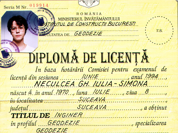 Simon Nastac's engineering certificate from the period before she became an artist