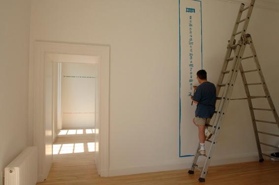 Les Edge installing 'Sentences' by Ian Hamilton Finlay, Inverleith House, July 2005
