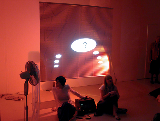 CREATIVE REVIEW, Jenny Hogarth and Kim Coleman, 2005, performance still, Glasgow Project Rooms