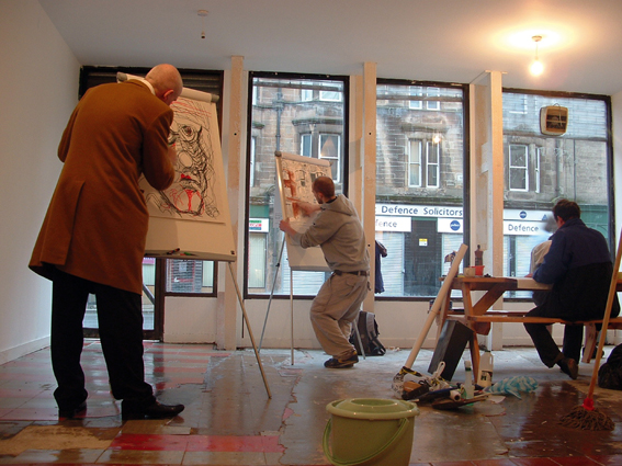 SHOP, Will Foster, 2005, installation view of drawing class, 111 Saltmarket