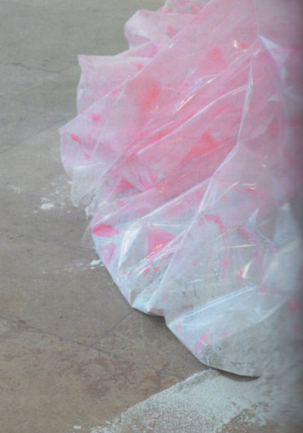'Not in Person In the Word', 2010, cellophane, sellotape, ribbon, paint, plaster powder, powder paint