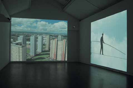 Two of the large scale projections at CCA, Glasgow forming part of Catherine Yass' 'Highwire' an Artangel/Gi co-commission at CCA, Glasgow
