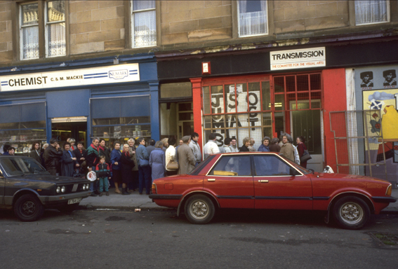 Crowd outside Transmission Gallery's first space, Chisholm Street, Glasgow