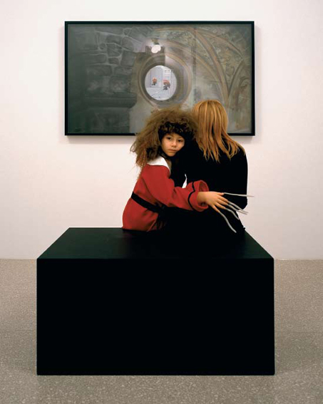 'The Oval Portrait. A ventriloquist at a Birthday Party in October 1947', 2005, tableau vivant, soft pastel on paper on panel, installation view Villa dell Rose, Bologna, 2005