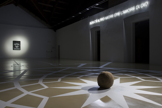 'Myrrhina', 2008, floor drawing, fried rice ball, neon, bijoux, pastel on paper on forex, installation view, 50 Moons of Saturn, Castello di Rivoli Museum of Contemporary Art, RivoliTurin, 2008