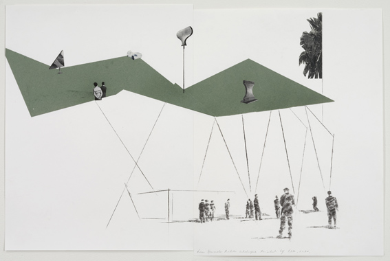 'Images With Their Own Shadow', 2008, collage and pencil on paper
