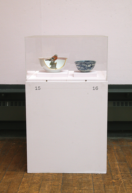 Hans Stofer, 'Robinday', 1997, Maker unknown, blue and white porcelain bowl, 19th century, installation view, Our Objects, Glasgow School of Art, 2009