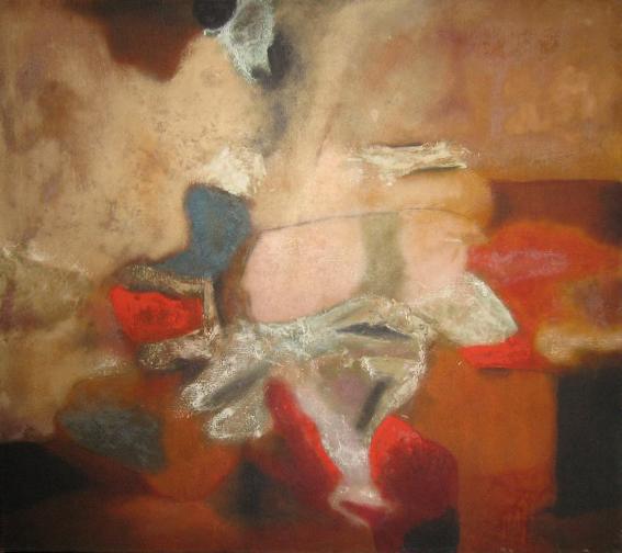 Aubrey Williams, Rockface, 1964, oil on canvas, 92x102cm. Image courtesy Maridowa Williams