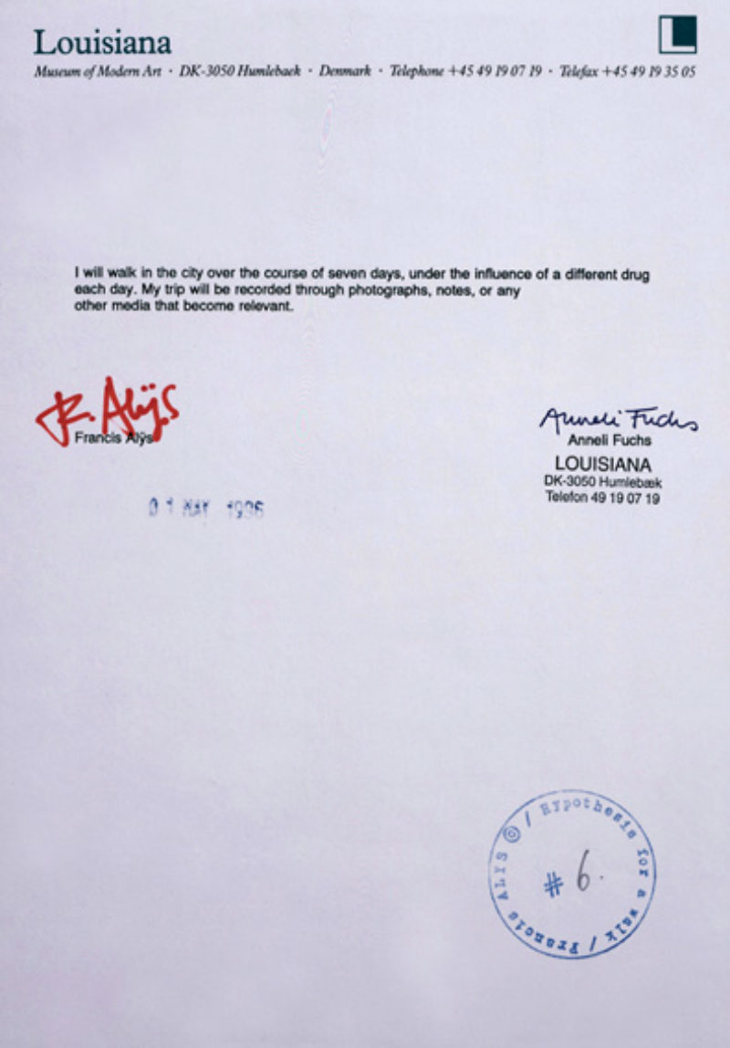 'Narcoturismo', Francis Als, 1996, Framed contract with Louisiana Museum of Modern Art