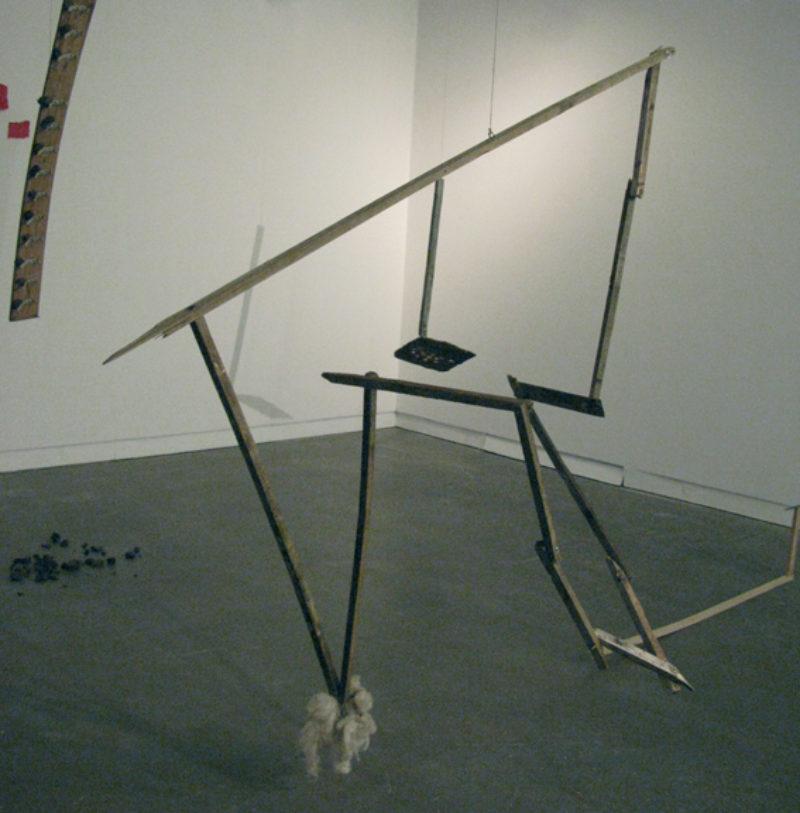 'AC5', 2008, wood, wool, coins and hemp cord