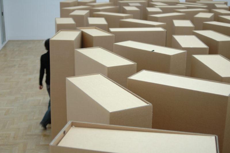Gustav Metzger, 'In Memoriam', 2006, cardboard boxes, installation view, Zacheta National Gallery of Art, 2007