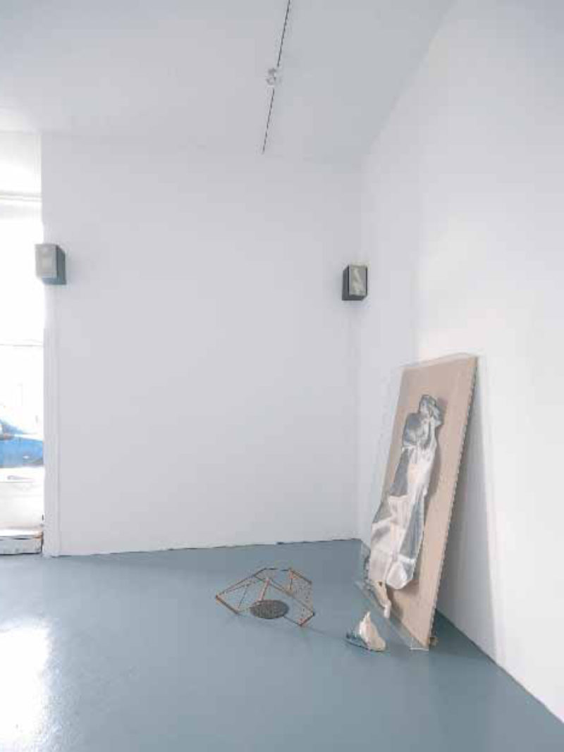 'Reduction with Noise', 2007, loudspeakers, bleached linen, with sound loop