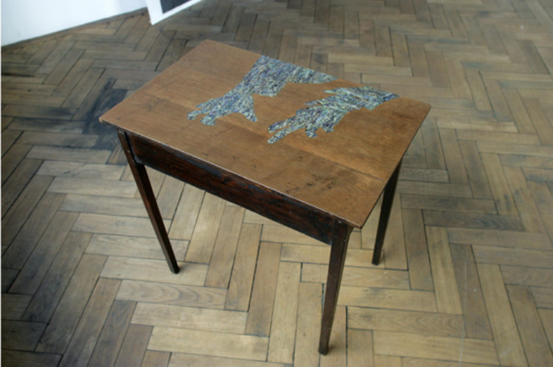 Lucy Skaer, '(The Tyrant)', 2006, oak table (c 1860) inlaid with mother of peal