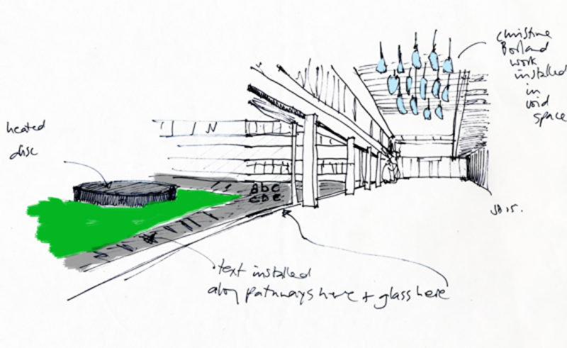 Sketch by Jacqueline Donachie of installations of her own and Christine Borland's work at the Centre for Health Science, Inverness