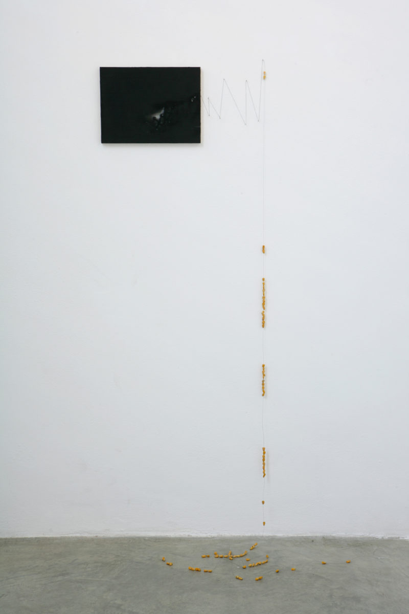 Victor Man, 'Untitled', 2007, oil on canvas on wood, wire, corn beads