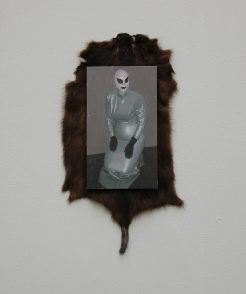 Victor Man, 'Untitled', 2006, oil on canvas on wood, animal fur