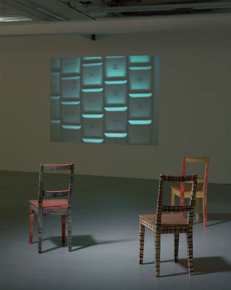 'Lent Moving Pictures', 2007, installation view (with chairs), Galerie Giti Nourbakhsch, Berlin, 2007