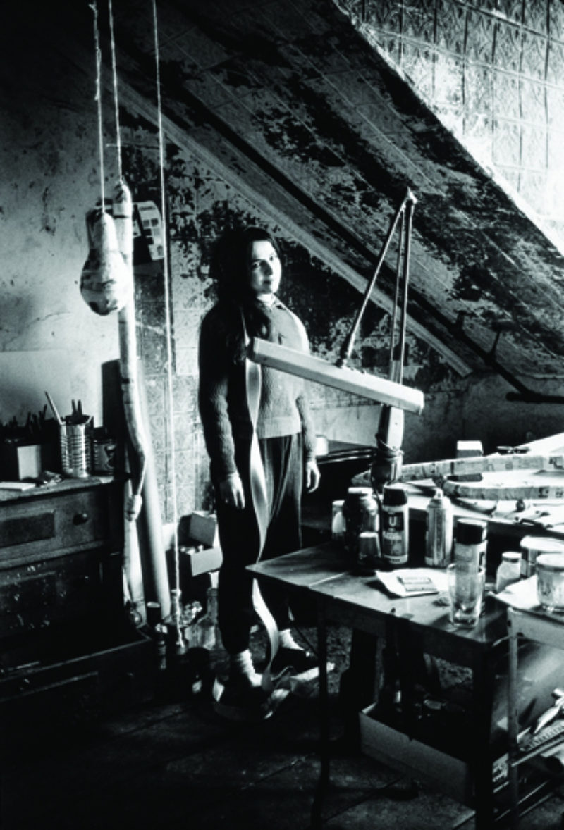 Eva Hesse at work in her Bowery studio, ca 1965