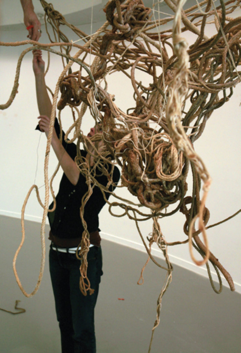 Sarah Pierce installing 'The Meaning of Greatness', 2006, Project Arts Centre Dublin