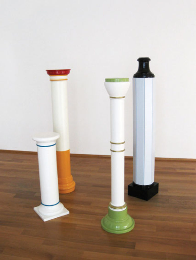 'Into The Forrest', 2010, four lacquered and enamelled wooden columns