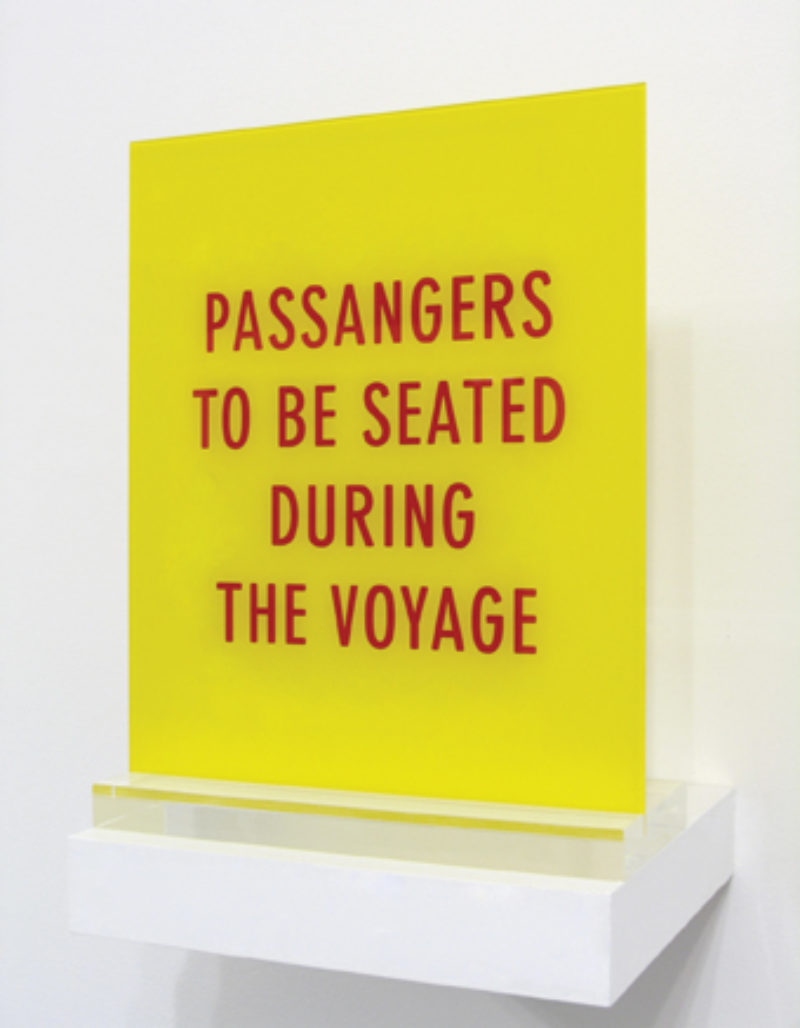'Passengers To Be Seated During The Voyage', 2997, engraving on plexiglass