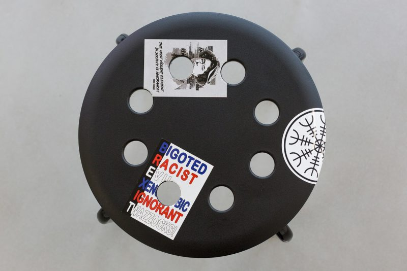 Adam Lewis Jacob, Stools customised by the artist with anarchist stickers, 2017, commissioned by Collective. Image courtesy Tom Nolan