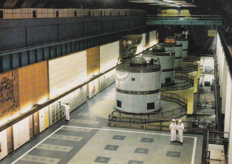 Publicity postcard of the newly completed turbine hall at Cruachan Power Station, c. 1965. Photo courtesy The North of Scotland Hydro-Electric Board archive courtesy ScottishPower