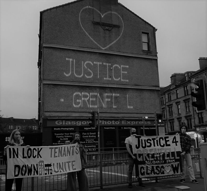 Justice for Grenfell action 2020 Glasgow