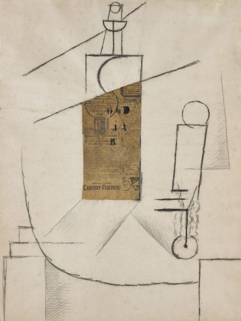 Pablo Picasso Bouteille Et Verre Sur Un Table 1912