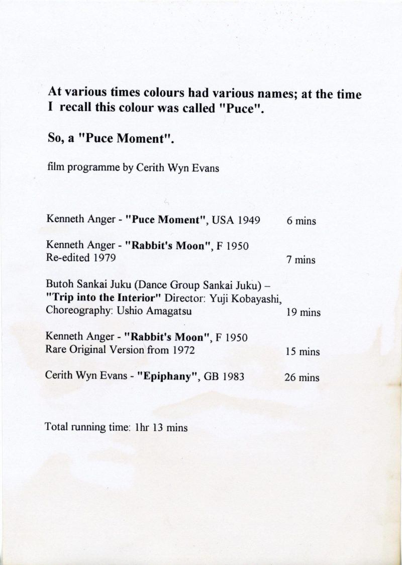 Programme notes for Cerith Wyn Evans At various times colours had various names at the time I recall this colour was called Puce So a Puce Moment 2003 Courtesy of Lucy Mc Kenzie