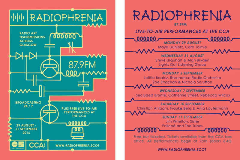 'Radiophrenia' flyer (from left front then back), design