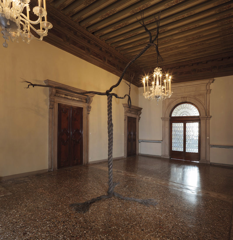 Graham Fagen, Rope Tree, Installation View, Palazzo Fontana, Bronze, 2015