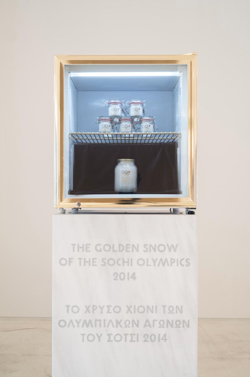 Pavel Br?ila, 'The Golden Snow of the Sochi Olympics', 2014, snow from the Sochi Olympics and various materials, EMSTNational Museum of Contemporary Art, Athens, documenta 14. Photo Mathias Vlzke