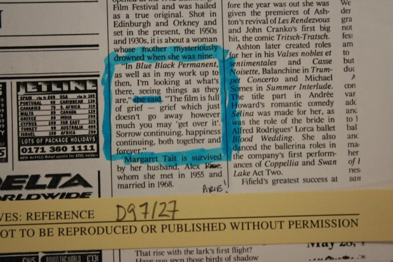 Blue Black Permanent (newspaper clipping), Courtesy of the Estate of Margaret Tait and Orkney Library and Archive.