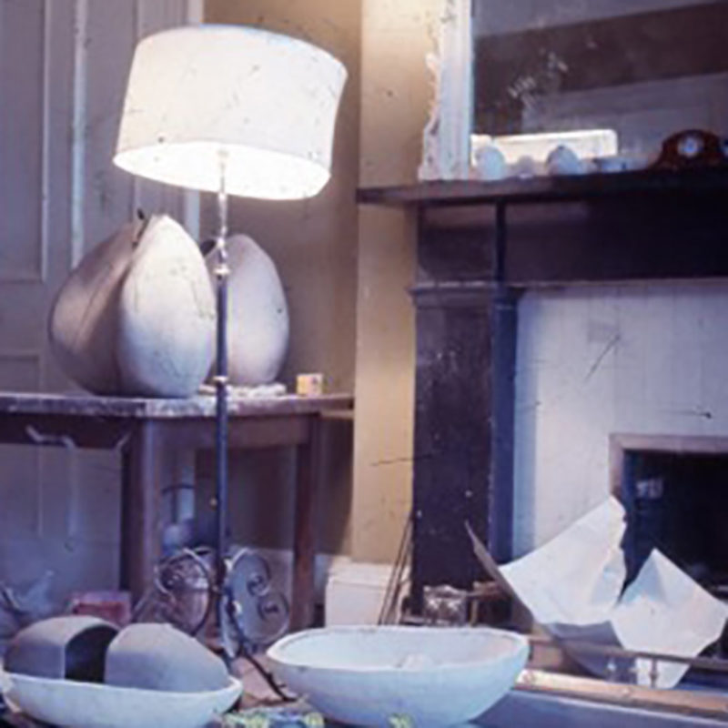 Donald Lockes Edinburgh flat interior, circa 1969, showing studies and works-in-progress