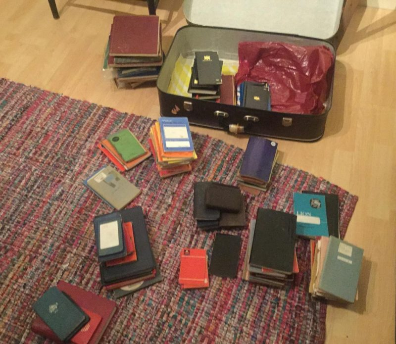 A number of Taits diaries and notebooks before their transfer to Orkney Library and Archive