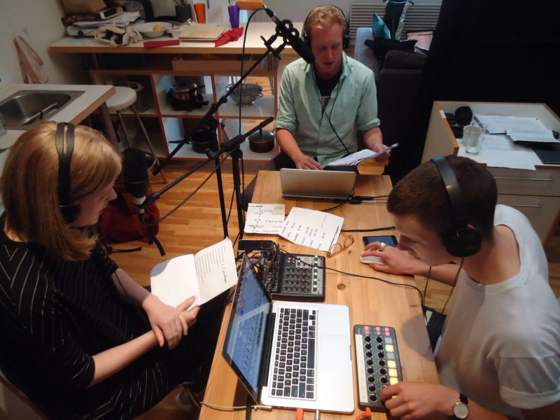 Anthony Autumn & Christopher MacInnes with Sofie Fischer-Rasmussen, live studio performance of Illogical Core, CCA Artists' Flat (the site from which Radiophrenia broadcast), image courtesy