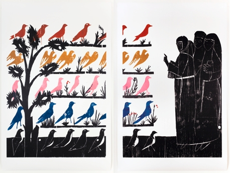 'Vogelpredigit (sermon to the birds)', 2010, woodcut on paper. Courtesy Hollybush Gardens London