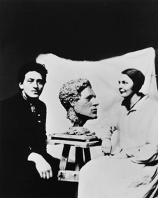 Alberto Giacometti and Flora Mayo with the bust she made of him c. 1927. Photographer unknown. Credit